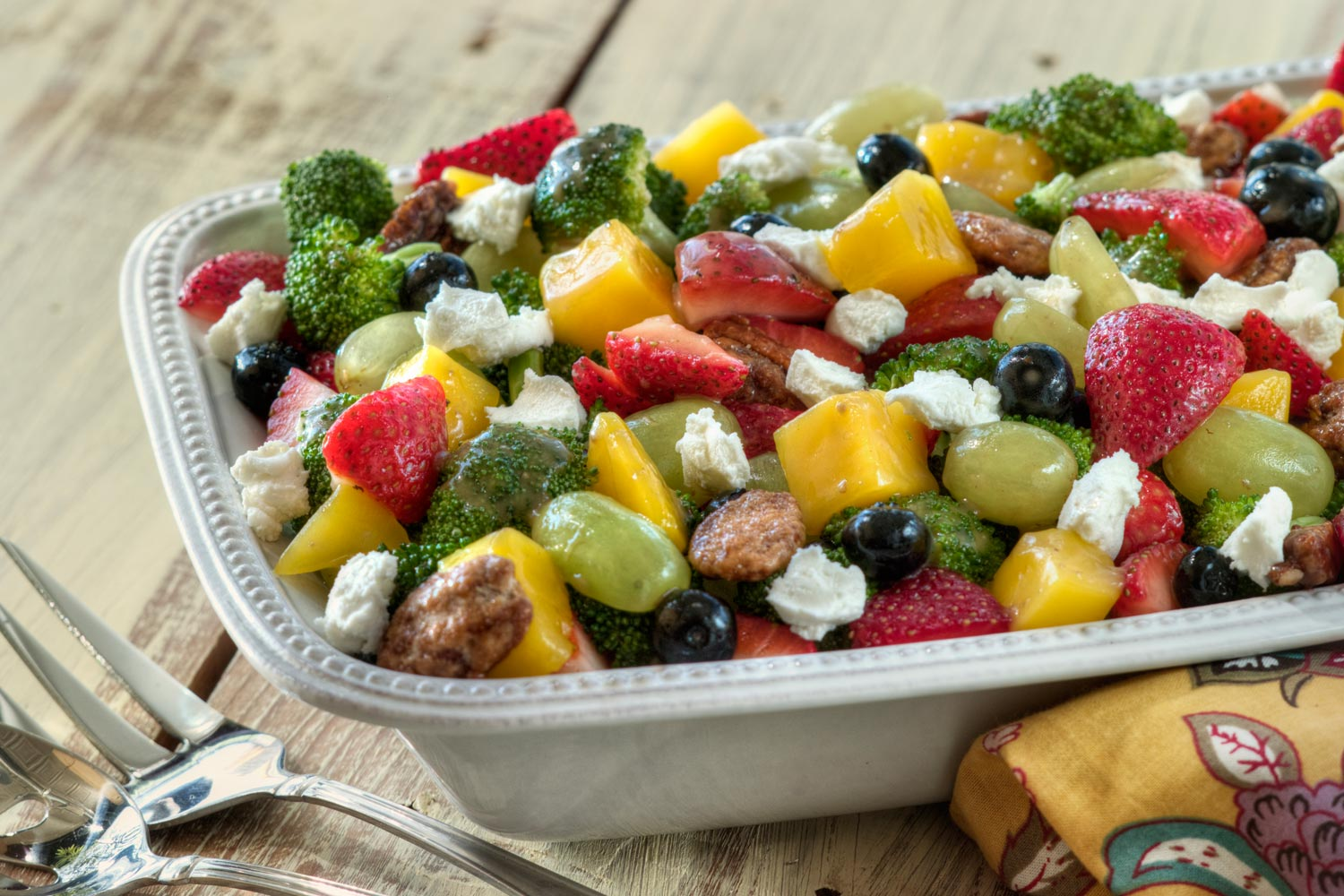Summer Fruit And Broccoli Salad With Goat Cheese